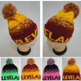 48 Units of Knitted Hat with PomPom [CLEVELAND B] Digital Fade - Winter Beanie Hats