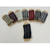 48 Units of Knitted Hand Warmers [Variegated Cable Knit w Rhinestone Studs - Arm & Leg Warmers