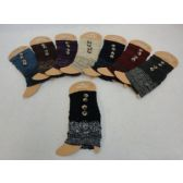 24 Units of Knitted Boot Cuffs-2 Buttons [Solid Top/Variegated Bottom]