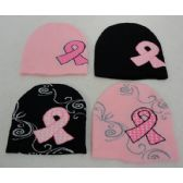 24 Units of Womens Breast Cancer Ribbon Winter Hat