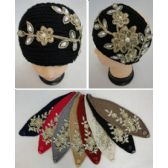 12 Units of Hand Knitted Ear Band w Metallic Floral Applique [Pearls & Gems] - Ear Warmers