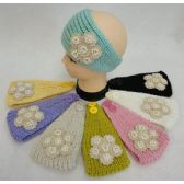 12 Units of Hand Knitted Ear Band w Applique [Flower/Pearl/Diamond] - Ear Warmers