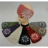 12 Units of Hand Knitted Ear Band w Applique [Flower & Jewel] - Ear Warmers