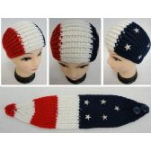 12 Units of Hand Knitted Ear Band [Red/White/Blue with Stars] - Ear Warmers