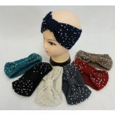48 Units of Hand Knitted Ear Band [Bow Shape Loop & Rhinestones]