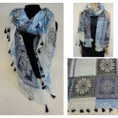 48 Units of Fashion Scarf with Tassel Fringe [Mediterranean Pattern] - Womens Fashion Scarves