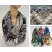 36 Units of Extra-Wide Light Weight Infinity Scarf [Victorian Floral] - Womens Fashion Scarves