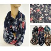 36 Units of Extra-Wide Light Weight Infinity Scarf [Butterfly & Roses] - Womens Fashion Scarves
