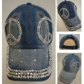 30 Units of Denim Strapback Hat with Bling Bling [Peace Sign] - Hats With Sayings