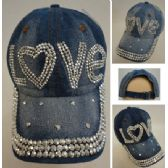30 Units of Denim Strapback Hat with Bling Bling [LOVE] - Hats With Sayings