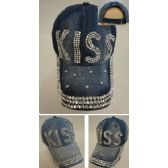 30 Units of Denim Strapback Hat with Bling Bling [KISS] - Hats With Sayings