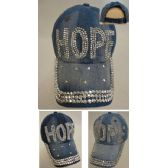 36 Units of Denim Strapback Hat with Bling Bling [HOPE] - Hats With Sayings