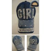 30 Units of Denim Strapback Hat with Bling Bling [GIRL] - Hats With Sayings
