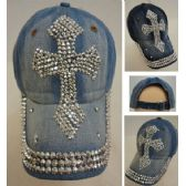 30 Units of Denim Strapback Hat with Bling Bling [Cross] - Hats With Sayings