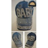 30 Units of Denim Strapback Hat with Bling Bling [BABY] - Hats With Sayings