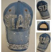 48 Units of Denim Strapback Hat with Bling Bling [STAR] - Hats With Sayings