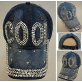 30 Units of Denim Strapback Hat with Bling Bling [COOL] - Hats With Sayings