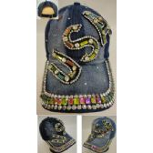 48 Units of Denim Hat with Bling [USA] - Hats With Sayings