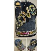 30 Units of Denim Hat with Bling [LOVE] - Hats With Sayings