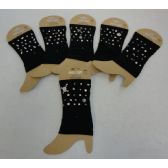 48 Units of Boot Cuffs [Black with Stud Designs] - Arm & Leg Warmers