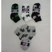 60 Units of Men's Thin Anklet Socks 10-13 [Marijuana] Black Gray White