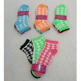 48 Units of Ladies Hounds Tooth Printed Socks