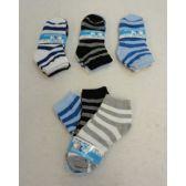60 Units of Boy's Anklet Socks 6-8[Stripes] - Boys Ankle Sock