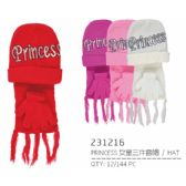 72 Units of Assorted Color Princess Hat - Junior / Kids Winter Hats