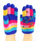 72 Units of Assorted Printed Children's Gloves - Knitted Stretch Gloves