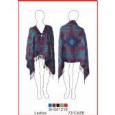 24 Units of Ladies' Assorted Color Poncho