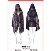 36 Units of Ladies' Assorted Color Poncho - Winter Pashminas and Ponchos