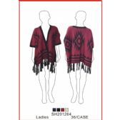 24 Units of Ladies' Assorted Color Poncho - Winter Pashminas and Ponchos