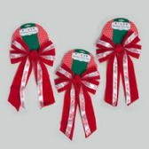 72 Units of Bow Velvet W/printed Ribbon 3ast Prints 9.5 X 17in 5loop Red Christmas Tie On Card