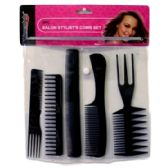 144 Units of 5PC SALON STYLISTS COMB SET BLISTER CARD - Hair Rollers