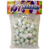 96 Units of 101PC WHITE WITH ASSORTED COLORS MARBLES