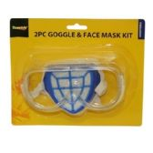 96 Units of 2 PIECE GOGGLE & FACE MASK KIT