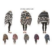 12 Units of Ladies Winter Sweater Poncho - Winter Pashminas and Ponchos