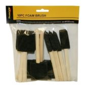 96 Units of 10 PIECE FOAM BRUSH W WOODEN HANDLE - Paint and Supplies