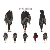 12 Units of Ladies Hoodie Winter Sweater Poncho - Winter Pashminas and Ponchos