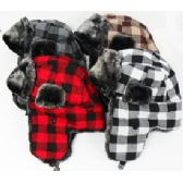 36 Units of Plaid Aviator Hat - Trapper Hats