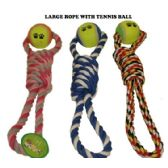 120 Units of DOUBLE LOOP ROPE WITH TENNIS BALL DOG TOY