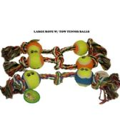 120 Units of KNOTTED ROPE WITH 2 TENNIS BALL
