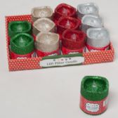 96 Units of Candle Led Flickering Pillar W/ Glitter - Christmas Novelties