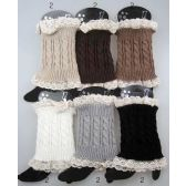 36 Units of Wholesale Cable Knitted Lace Trim Boot Toppers Leg Warmers - Arm & Leg Warmers