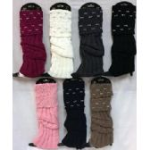 36 Units of Wholesale Knitted Boot Toppers Leg Warmers with rhinestone - Arm & Leg Warmers