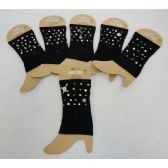 36 Units of Wholesale Black Color Boot Topper with Assorted Studs - Arm & Leg Warmers