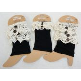 36 Units of Wholesale Black Color Boot Topper with Assorted Size Crochet - Arm & Leg Warmers