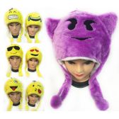 12 Units of Plush Fuzzy Emoji Hat Assorted Styles - Hats With Sayings