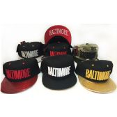 1c3af99962c 48 Units of Wholesale Snap Back Flat Bill Baltimore Block Letter Assorted -  Hats With Sayings