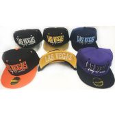 48 Units of Wholesale Snap Back Flat Bill Las Vegas City of Fun Assorted - Hats With Sayings
